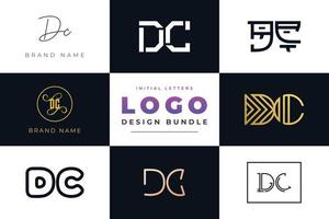 Set of collection Initial Letters DC Logo Design. vector
