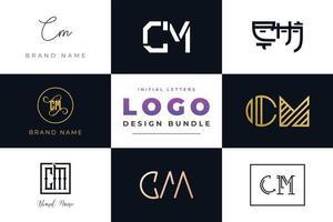 conjunto de letras iniciales de colección diseño de logotipo cm. vector