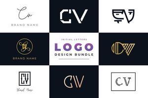 conjunto de letras iniciales de colección diseño de logotipo cv. vector