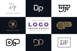 Set of collection Initial Letters DP Logo Design. vector