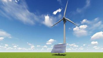 Solar panel and wind turbines over a sky video