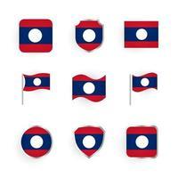 Laos Flag Icons Set vector