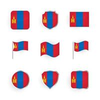 Mongolia Flag Icons Set vector