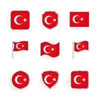 conjunto de iconos de bandera de pavo vector