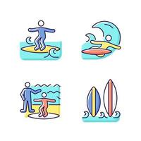 Surfboarding RGB color icons set vector