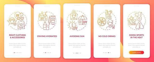 prevención del agotamiento por calor incorporación de la pantalla de la página de la aplicación móvil vector