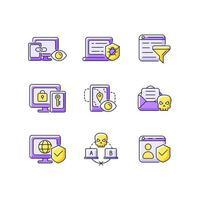 Internet surveillance purple RGB color icons set vector