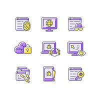 Monitoreo del comportamiento en línea conjunto de iconos de color púrpura rgb vector