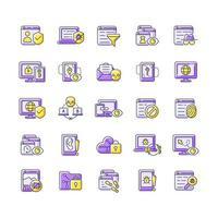 Online surveillance and censorship purple RGB color icons set vector