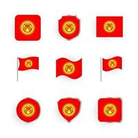 Kyrgyzstan Flag Icons Set vector