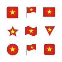 conjunto de iconos de bandera de vietnam vector