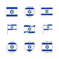 conjunto de iconos de la bandera de israel vector
