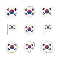 conjunto de iconos de bandera de corea del sur vector