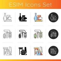 Trendy crafts icons set vector
