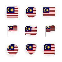 Malaysia Flag Icons Set vector