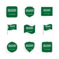 Saudi Arabia Flag Icons Set vector