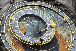 Detail of the historical medieval astronomical Clock in Prague on Old Town Hall , Czech Republic photo