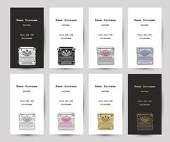 Set of business cards with hand drawn vintage typewriter vector