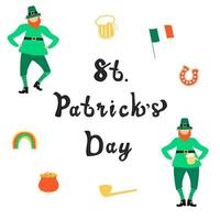 Saint Patrick Day lettering with flat leprechauns vector
