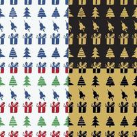 Set Seamless patterns bells, boxes and fir-trees vector