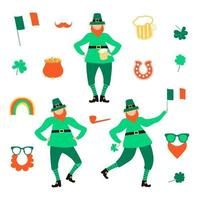 St Patricks Day set with flat leprechauns and mug of beer vector
