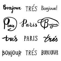 Hand drawn french phrases collection. vector