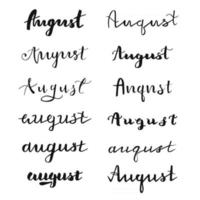 Hand drawn typography August vector