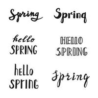 Spring calligraphy lettering. Spring quotes handwritten. vector