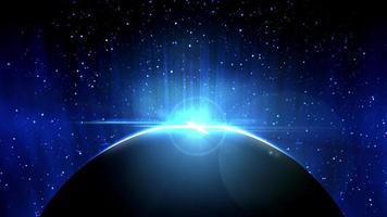 Tierra en vista espacial con amanecer brillante en el universo y el fondo de la galaxia video