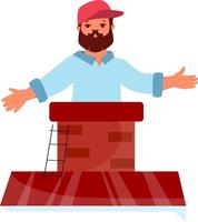 Vector illustration of a worker on the roof near the chimney