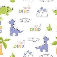 Vector pattern cute dinosaurs for children's textile design