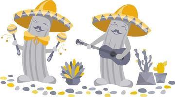 divertidos cactus mariachi con sombreros vector