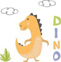 Simple yellow dinosaur vector
