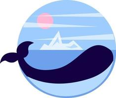 Whale in the sea with iceberg vector