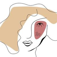 Abstract one outline woman's face with harmonious color vector