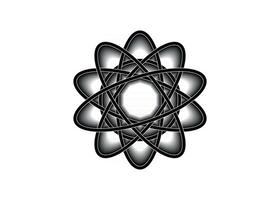 Pictograph of atom. Black line logo template in Celtic knot style vector