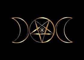 Triple Moon Goddess Wicca Pentacle symbol, golden witchcraft icon vector