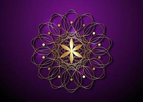 Gold Seed of life symbol Sacred Geometry. Logo icon vector