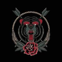 Illustration vector angry bear with roses in traditional tattoo style