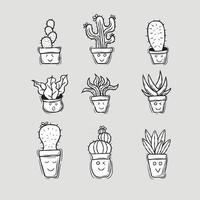 Hand drawn cute cactus trees doodle set illustration vector