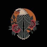 Eagle and roses traditional tattoo style vector