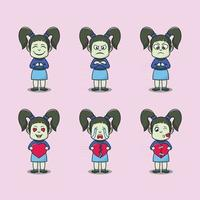 Set illustration cute girls cartoon characters vector