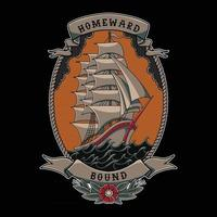 sailing ship traditional tattoo style vector