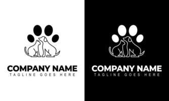 Dog Cat Veterinary Clinic Logo Template. Line symbols in negative vector