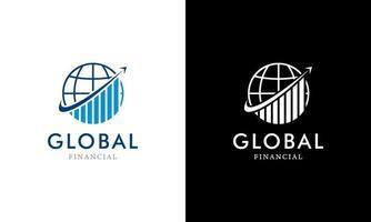 Global Finance in globe rotate arrow logo concept design template vector