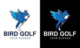 logo Cartoon bird playing golf for a sports mascot design vector