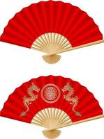 chinese new year elements. isolated chinese fans. vector