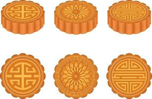 Set of isolated chinese moon cakes. Mid autumn chinese festival vector