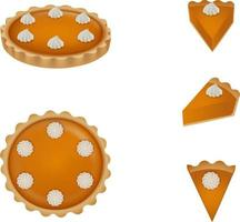 solated pumpkin pie vector. Top and side view and slices of cake. vector