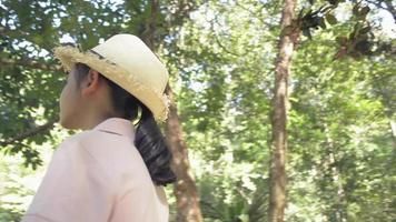 tournant autour d'une joyeuse fille asiatique portant un chapeau de paille regardant autour d'un parc forestier à feuillage luxuriant sous la lumière du soleil. vacances d'été. voyage d'excursion. Thaïlande. video